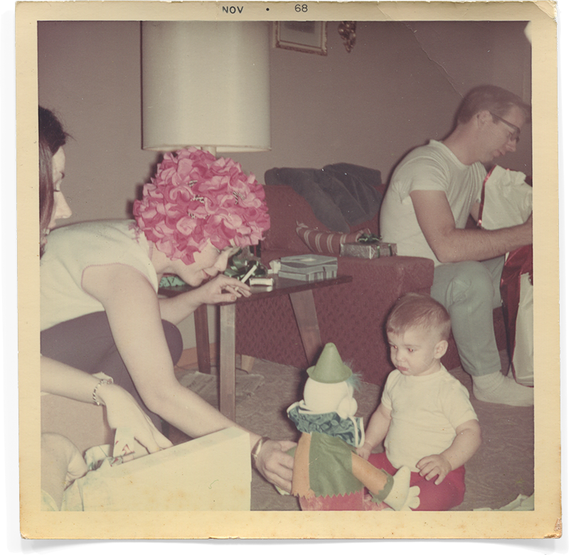 Mom gives me a clown for my first Christmas in 1966.