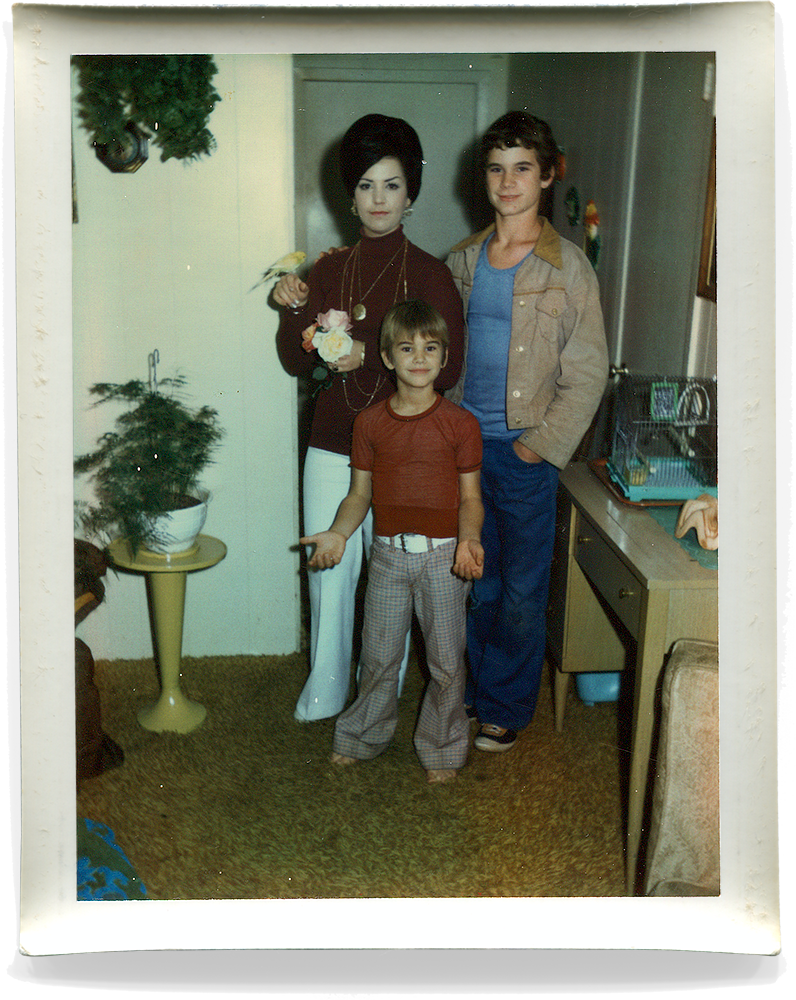 My Mother, Danny and me posing with our bird Drifty.