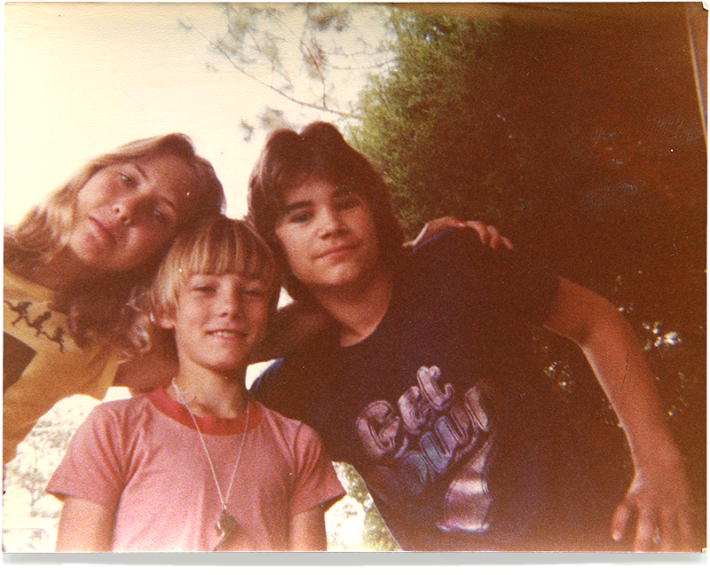 Me with cousins Michelle & Clay wearing The Whistle, 1977.